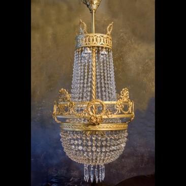 Антикварный подвесной светильник с кабашонами