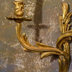 Старинное бронзовое бра на 3 рожка