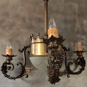 Винтажная люстра из бронзы со стеклянным плафоном