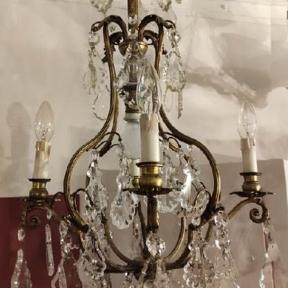 Антикварная бронзовая люстра с подвесками